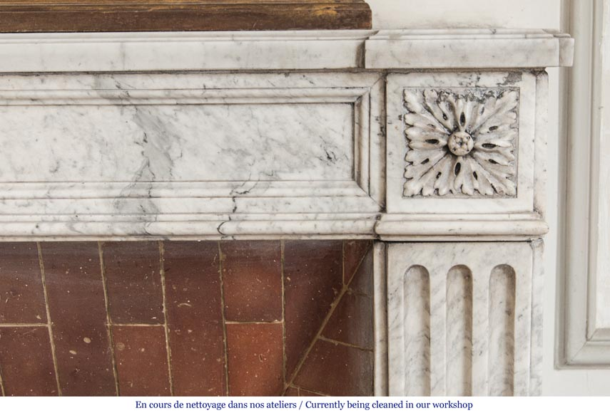 An antique Louis XVI period fireplace, made out of Carrara marble, with stop-fluted and rosettes -6