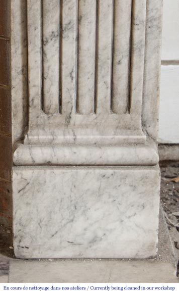 An antique Louis XVI period fireplace, made out of Carrara marble, with stop-fluted and rosettes -7