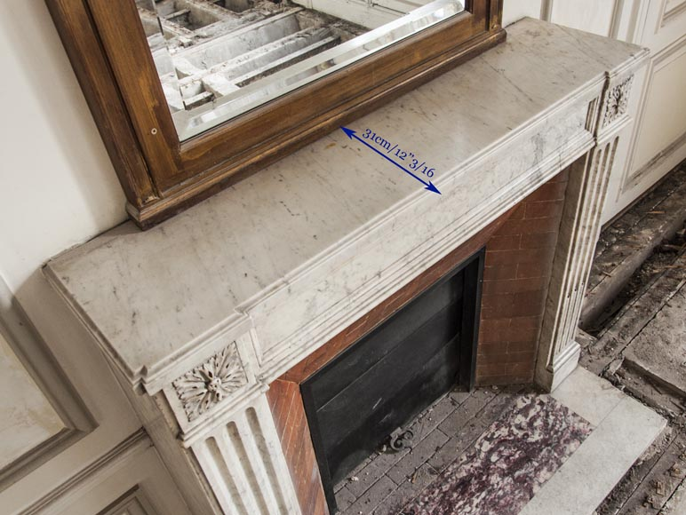 An antique Louis XVI period fireplace, made out of Carrara marble, with stop-fluted and rosettes -9