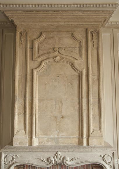 An antique Louis XV period fireplace with its trumeau, made out of stone-2