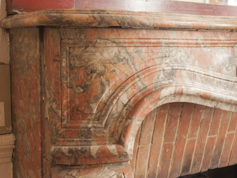 An antique Regence style fireplace made out of Incarnat Turquin marble-3