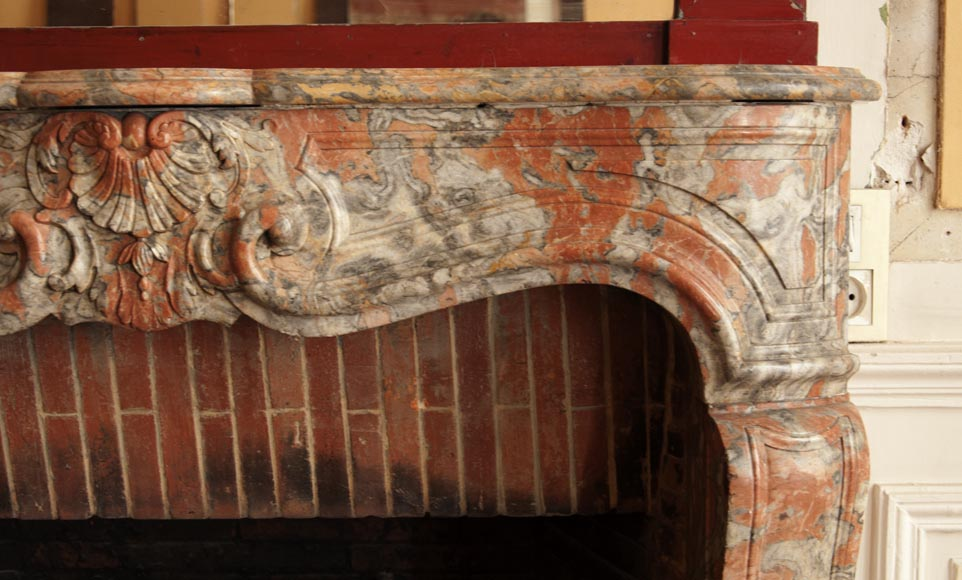 An antique Regence style fireplace made out of Incarnat Turquin marble-6