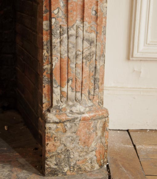 An antique Regence style fireplace made out of Incarnat Turquin marble-7