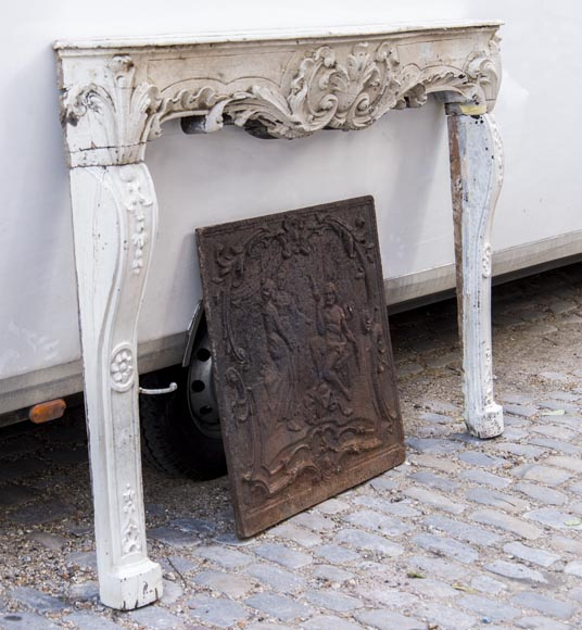 A beautiful antique richly sculpted fireplace from Louis XV period made out of painted oak-2