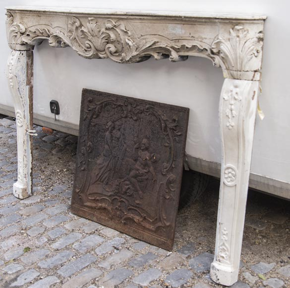 A beautiful antique richly sculpted fireplace from Louis XV period made out of painted oak-7