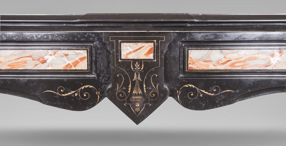An antique Napoléon III style fireplace made out of Black Belgian marbre and inlays of Sarrancolin marble-1
