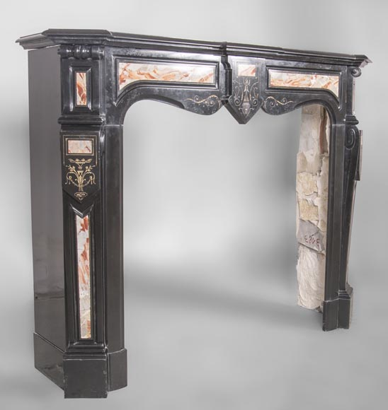 An antique Napoléon III style fireplace made out of Black Belgian marbre and inlays of Sarrancolin marble-2