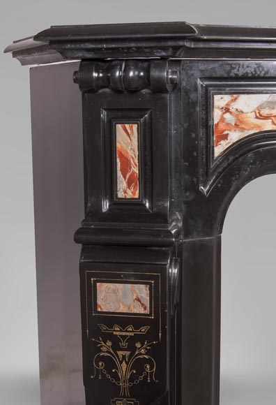 An antique Napoléon III style fireplace made out of Black Belgian marbre and inlays of Sarrancolin marble-3