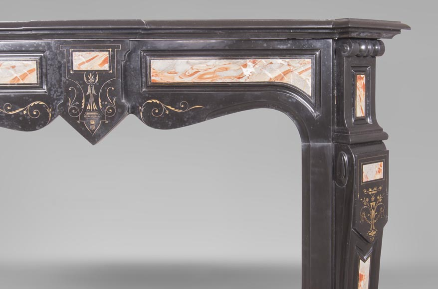 An antique Napoléon III style fireplace made out of Black Belgian marbre and inlays of Sarrancolin marble-6