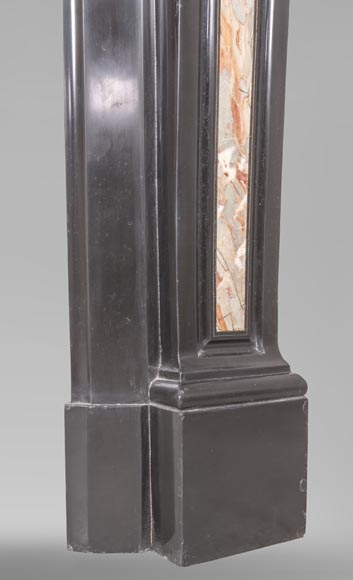 An antique Napoléon III style fireplace made out of Black Belgian marbre and inlays of Sarrancolin marble-7
