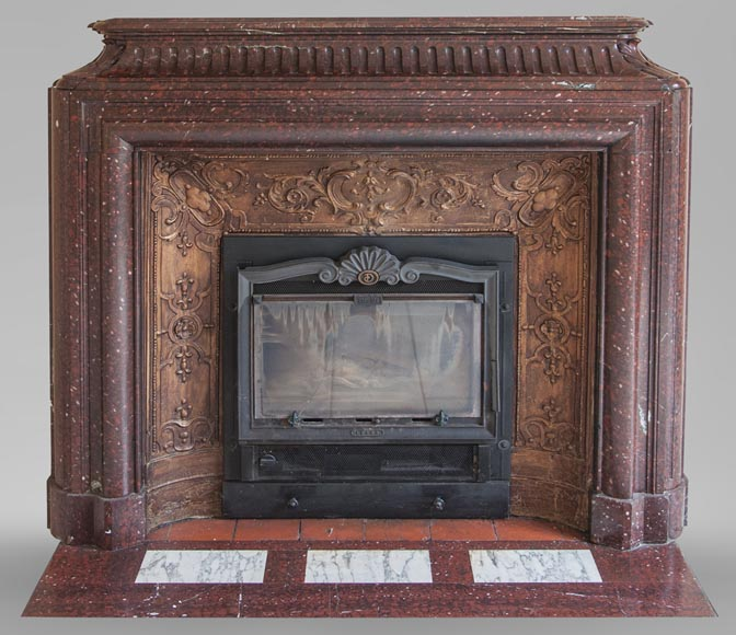 An antique Louis XIV style fireplace, with acroterion and Bollection, made out of Rouge Griotte marble-0