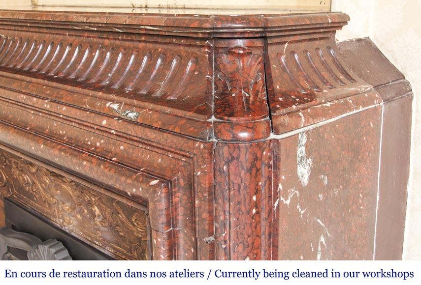 An antique Louis XIV style fireplace, with acroterion and Bollection, made out of Rouge Griotte marble-6