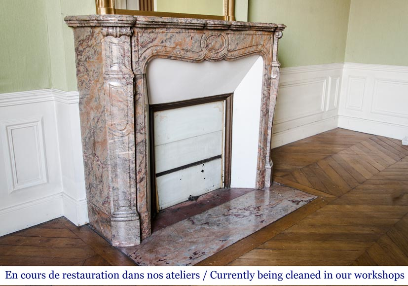 An antique Louis XV style fireplace, Pompadour model, made out of Enjugerais marble-2