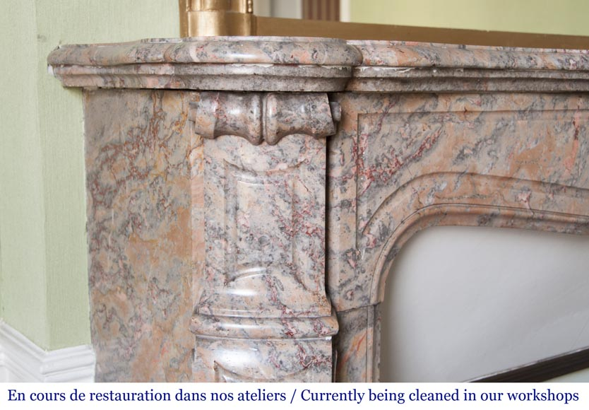 An antique Louis XV style fireplace, Pompadour model, made out of Enjugerais marble-3