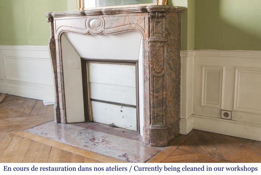 An antique Louis XV style fireplace, Pompadour model, made out of Enjugerais marble-5
