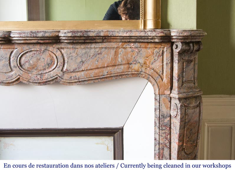 An antique Louis XV style fireplace, Pompadour model, made out of Enjugerais marble-6