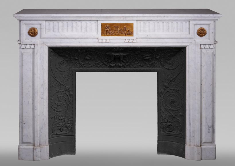 Antique Napoleon III style fireplace in Carrara marble and gilded bronze ornaments-0