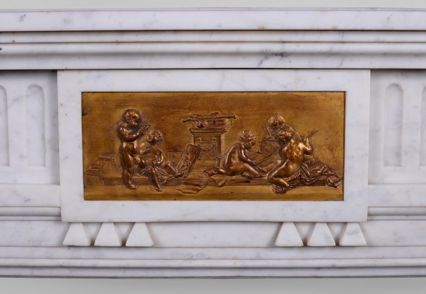 Antique Napoleon III style fireplace in Carrara marble and gilded bronze ornaments-1