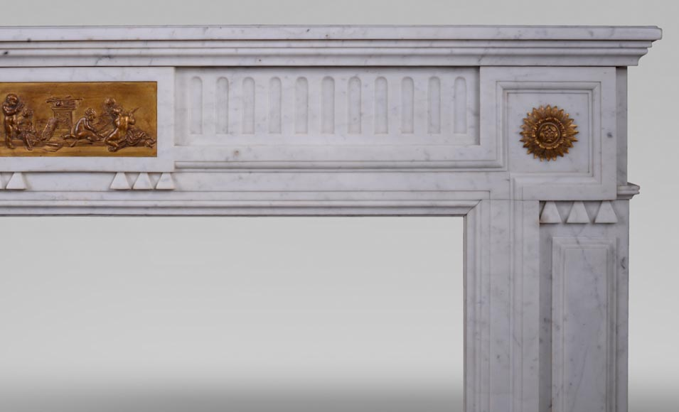Antique Napoleon III style fireplace in Carrara marble and gilded bronze ornaments-6