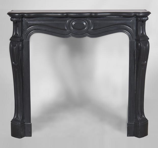An antique Louis XV style firreplace, Pompadour model, made out of Noir fin de Belgique marble-0
