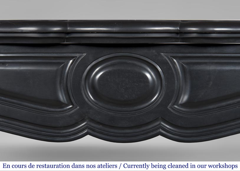 An antique Louis XV style firreplace, Pompadour model, made out of Noir fin de Belgique marble-1