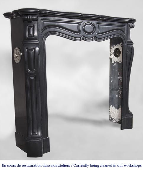 An antique Louis XV style firreplace, Pompadour model, made out of Noir fin de Belgique marble-2