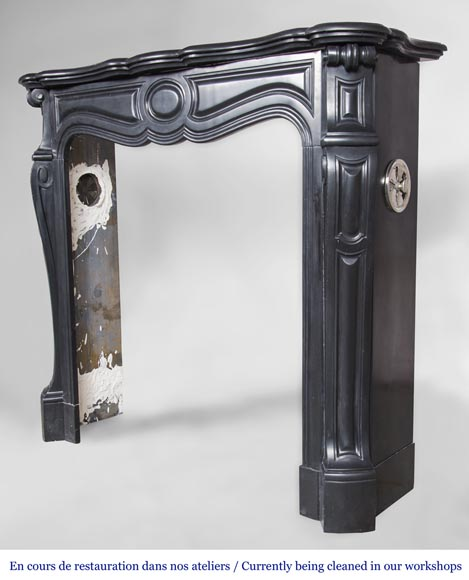 An antique Louis XV style firreplace, Pompadour model, made out of Noir fin de Belgique marble-5