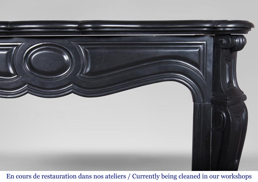 An antique Louis XV style firreplace, Pompadour model, made out of Noir fin de Belgique marble-6