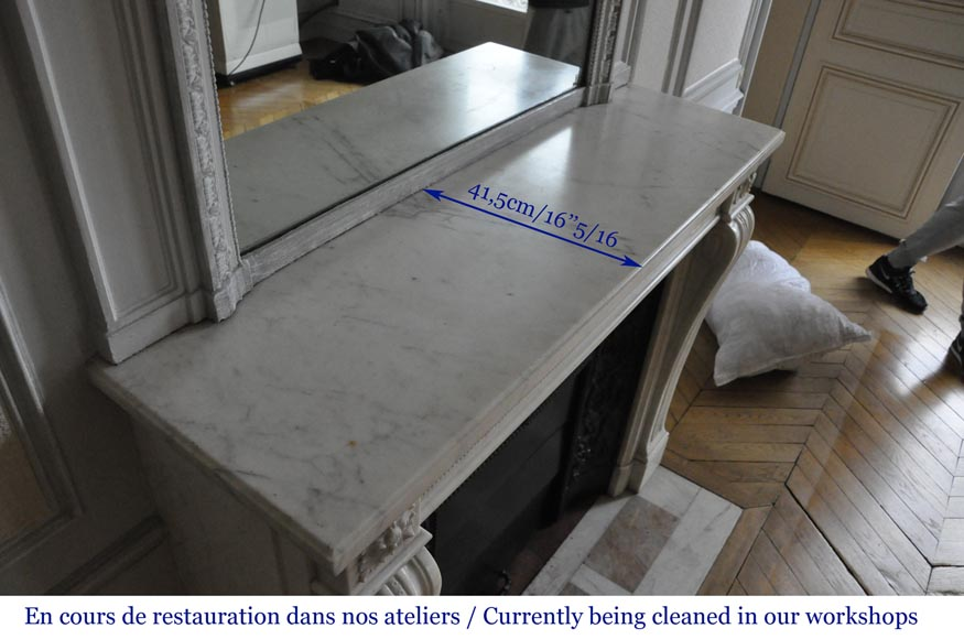 An antique Louis XVI style fireplace made out of Carrara marble-8