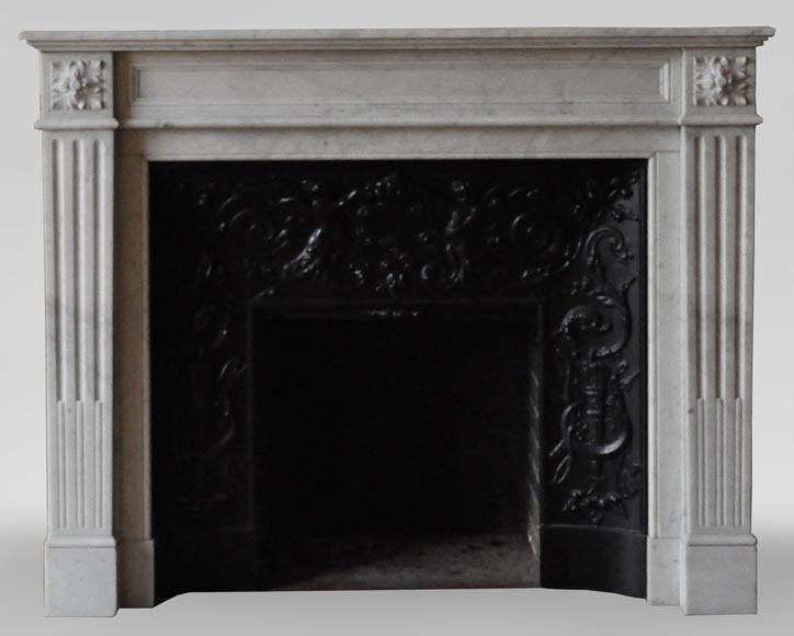 An antique Louis XVI style fireplace, made out of Carrara marble-0