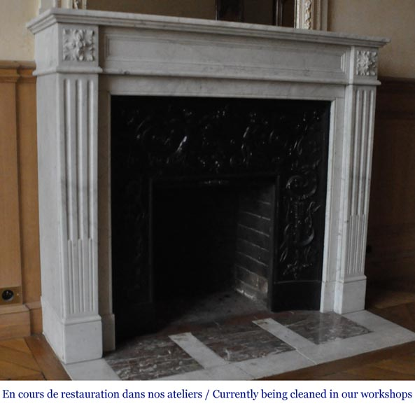 An antique Louis XVI style fireplace, made out of Carrara marble-2