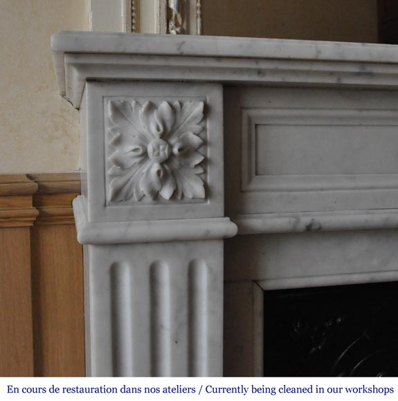 An antique Louis XVI style fireplace, made out of Carrara marble-3