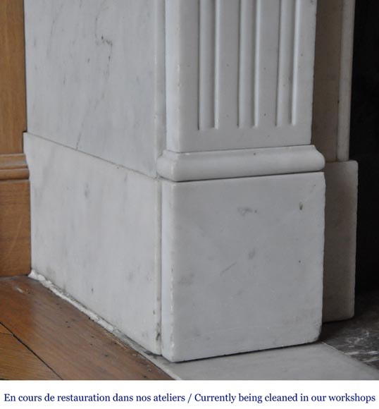 An antique Louis XVI style fireplace, made out of Carrara marble-4