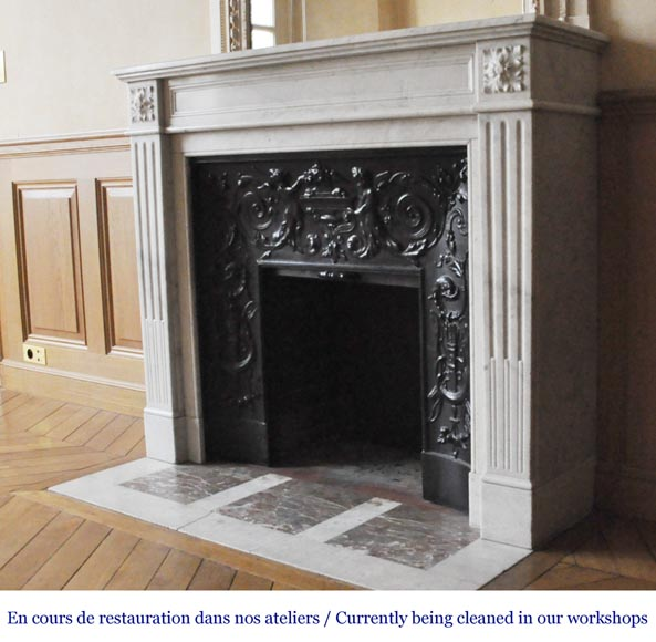 An antique Louis XVI style fireplace, made out of Carrara marble-5