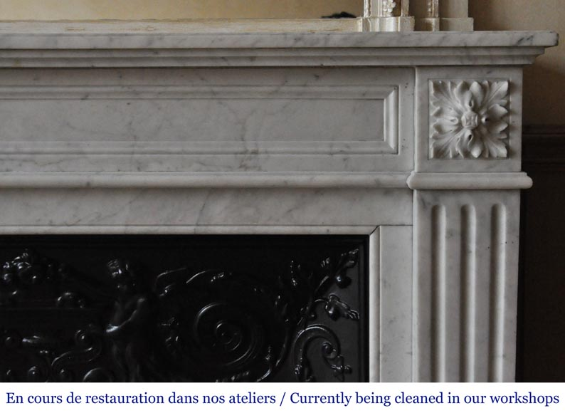 An antique Louis XVI style fireplace, made out of Carrara marble-6