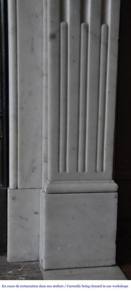 An antique Louis XVI style fireplace, made out of Carrara marble-7