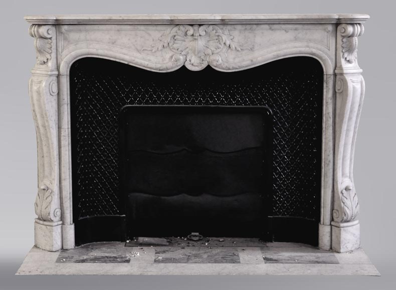 An antique Louis XV style fireplace, made out of Carrara marble, with shell decoration-0