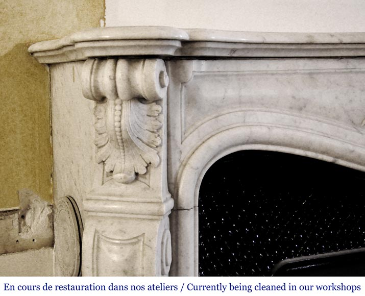 An antique Louis XV style fireplace, made out of Carrara marble, with shell decoration-3