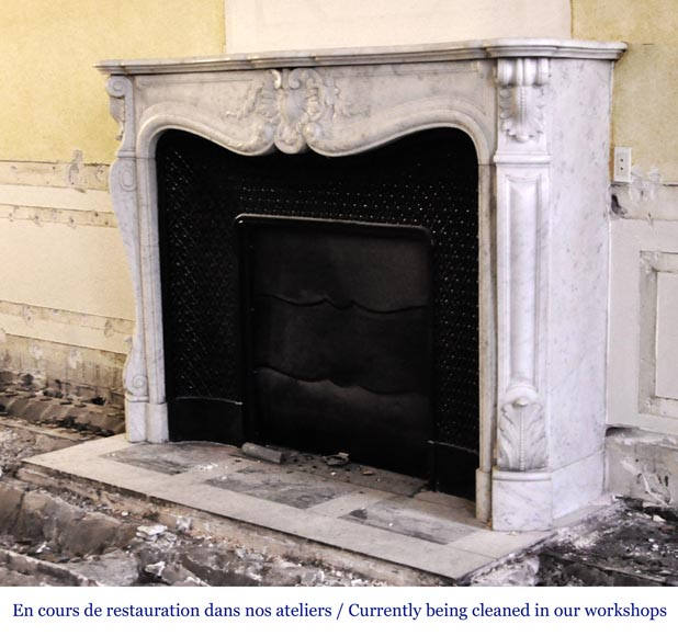 An antique Louis XV style fireplace, made out of Carrara marble, with shell decoration-5