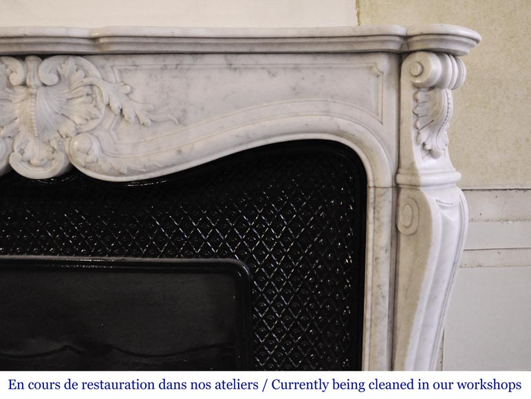 An antique Louis XV style fireplace, made out of Carrara marble, with shell decoration-6