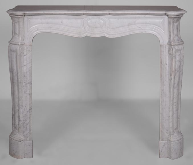 An antique Louis XV style fireplace, Pompadour model, made out of Carrara marble-0