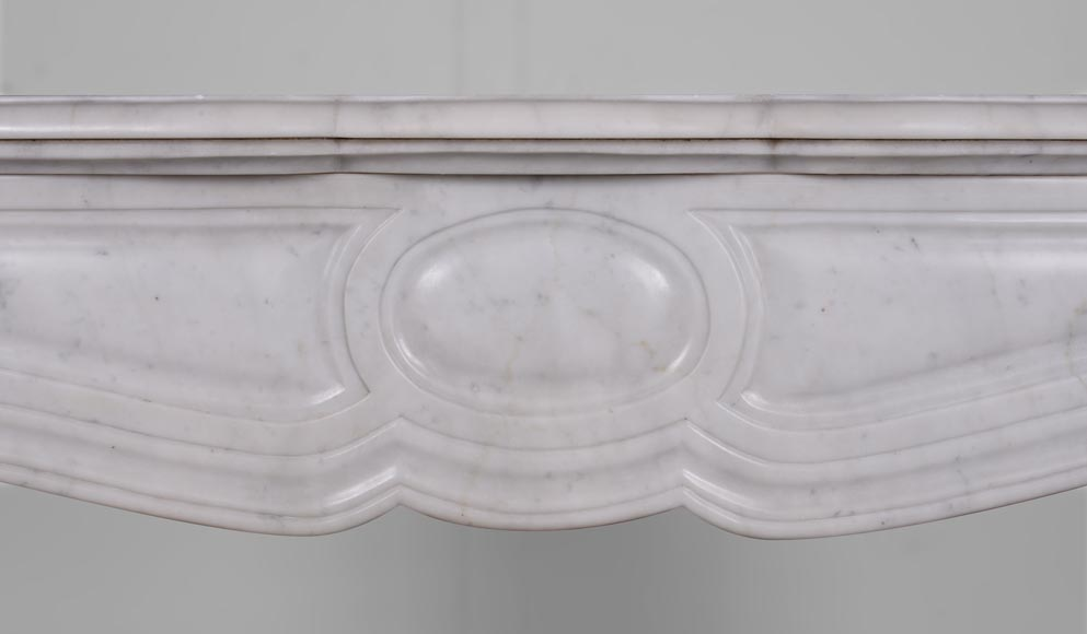 An antique Louis XV style fireplace, Pompadour model, made out of Carrara marble-1