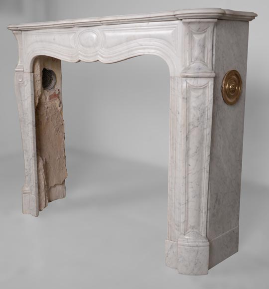 An antique Louis XV style fireplace, Pompadour model, made out of Carrara marble-5