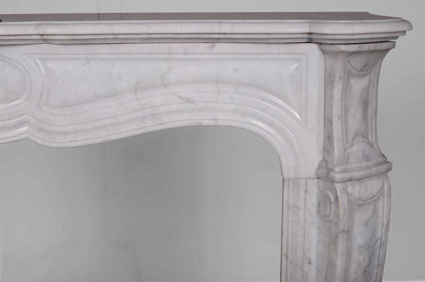 An antique Louis XV style fireplace, Pompadour model, made out of Carrara marble-6