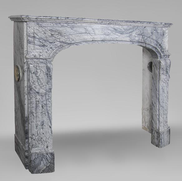An antique Regency style fireplace, made out of Bleu Fleuri marble-2