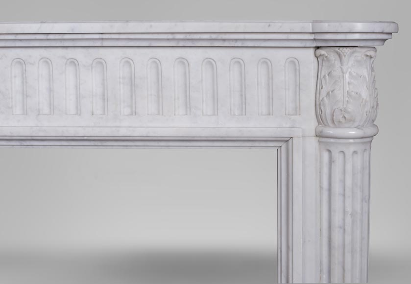 An antique Louis XVI style fireplace, made out of Carrara marble, with half-columns-6