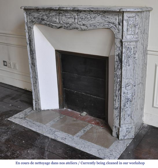 An antique Louis XV style fireplace, Pompadour model, made out of Bleu Fleuri marble-5