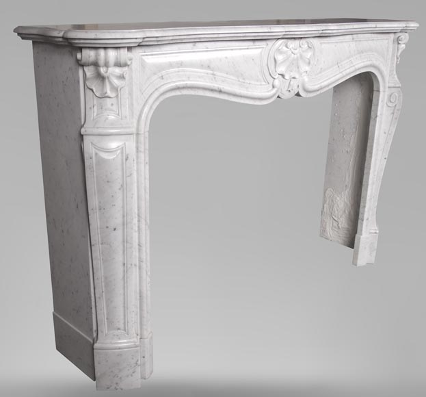 An antique Louis XV style fireplace with three shells, made out of Carrara marble-3
