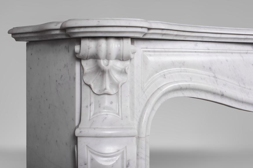 An antique Louis XV style fireplace with three shells, made out of Carrara marble-4