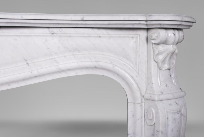 An antique Louis XV style fireplace with three shells, made out of Carrara marble-7